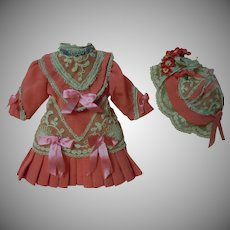 Beautiful tiny Coral Dress Bonnet for antique Bleuette cabinet sized doll