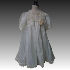 "Exquisite Antique pure silk Dress and Linen Underwear piece for 23"" to 27"" doll"