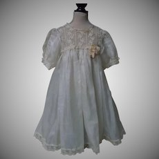 """Exquisite Antique pure silk Dress and Linen Underwear piece for 23"""" to 27"""" doll"""