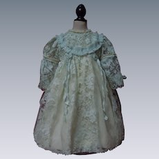 Lovely Aqua Lace Dress Slip Cap for huge german french bisque doll