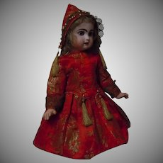 Superb Couturier Costume Dress and Bonnet Red and Gold Silk Brocade for French Bebe Jumeau Steiner Bru doll