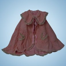 Charming Embroidered flannel 1920's Cape for huge antique doll