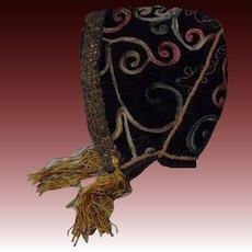 Antique Velvet Bonnet Soutache Braid for French Bebe Jumeau Steiner Bru doll