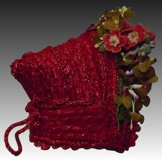 Lovely Red Soft Straw Tiny French Bebe Hat for cabinet sized doll