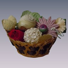 Vintage Wicker Basket w/ millinery Berries Flowers