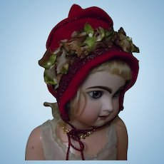 "Lovely Red Felted Wool Bonnet for 23"" bisque doll"