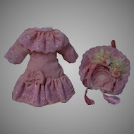 "Wonderful Rose French Bebe Dress and Hat for 18"" to 19"" antique doll"