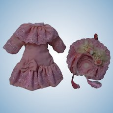 """Wonderful Rose French Bebe Dress and Hat for 18"""" to 19"""" antique doll"""