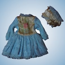 """Painted silk taffeta dress with beret for 10"""" to 11""""  Bleuette french bebe doll"""
