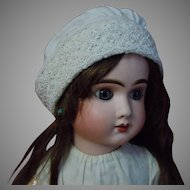 Antique Embroidered Cotton Bonnet for huge doll