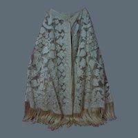 Exceptional Antique 1850's  Mantle Cape  Silk Taffeta Applique Tambour Net Lace