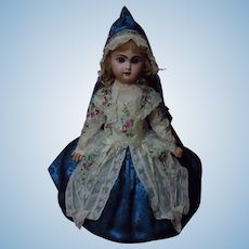 Exquisite Couturier Dress Bonnet Basket Cobalt Blue Silk Brocade for French Bebe Jumeau Steiner Bru doll