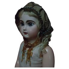 Embroidered Net Metallic Lace Coif Cap for French Bebe Jumeau Steiner Bru doll