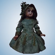 Gorgeous Couturier Costume Dress and Bonnet Silk Brocade for French Bebe Jumeau Steiner Bru doll