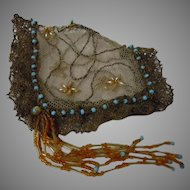 Embroidered Net Metallic Lace Coif Cap for cabinet sized French Bebe Jumeau Steiner Bru doll