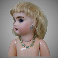 Exquisite Vintage Aquamarine Rhinestone Beads Necklace for cabinet sized french bebe doll