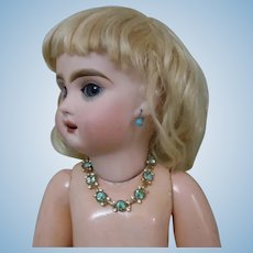 Exquisite Vintage Aquamarine Rhinestone Beads Necklace for cabinet sized french bebe doll