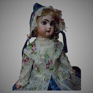 Exquisite Silk Brocade Dress Bonnet Basket for French Bebe Jumeau Steiner Bru doll