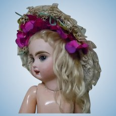 Wonderful Early Century Straw Hat for cabinet sized doll