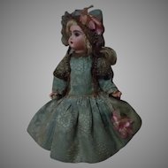 Gorgeous Dress and Bonnet Silk Brocade for French Bebe Jumeau Steiner Eden Bru doll