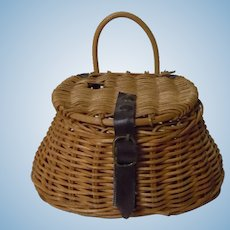 All Original Antique Fishing Picnic Wicker Woven Creel Basket
