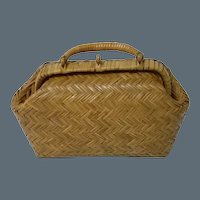 Wonderful All Original Early Century Woven Straw Bag for huge doll