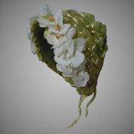 Beautiful Green Khaki Soft Straw Hat w/ Silk Rosettes