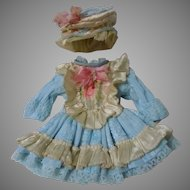 Wonderful Taffeta Dress and Beret for Bleuette tiny cabinet sized doll