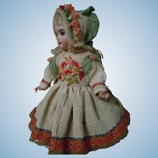 Wonderful Pure Linen Dress Hat Embroidered Poppies for French Bebe Antique doll