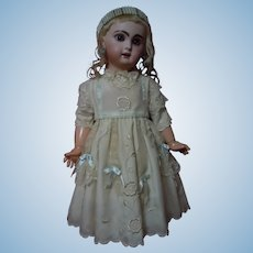 Exquisite Embroidered Taffeta Dress for French Bebe Jumeau Steiner Eden antique doll