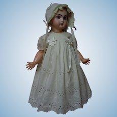 Lovely Set Mid Century Pure Cotton Embroidery Eyelets Dress Slip Bonnet