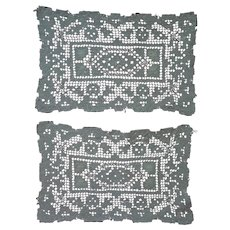 """Beautiful Pair Vintage Hand Made Filet Lace Doilies 12"""" x 8"""""""