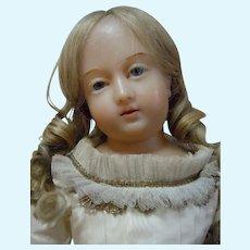 Precious  All Original 19th century Wax Religious  Figure Statue Doll