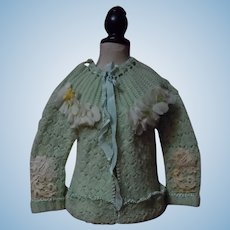Vintage Green Aquamarine Wool Silk Sweater and Bonnet