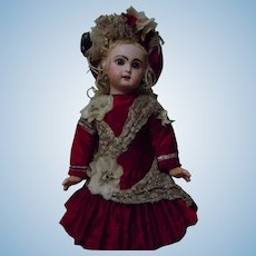 Gorgeous Red Velvet Dress Hat for antique french Bebe Jumeau doll