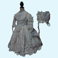 Gorgeous  Linen Dress and  Hat Richelieu Embroidery for French Bebe Antique Doll