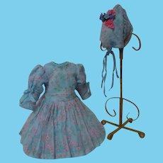 Beautiful Spring Set Organza Myosotis Dress Hat for French Bebe cabinet sized doll