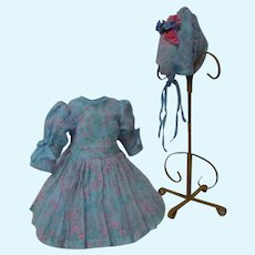 Beautiful Spring Set Organza Myosotis Dress Hat for French Bebe cabinet sized doll