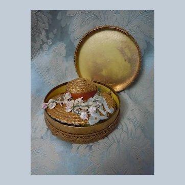 Original Antique Tiny Doll Hat Straw and Myosotis in Golden Brass tone Box