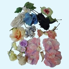 Vintage Millinery Floral Lot 14 Pieces for antique doll