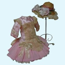 Wonderful Rose Dress and Hat for Antique French Bebe doll