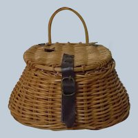 All Original Antique Wicker Woven Miniature Fishing Creel Basket