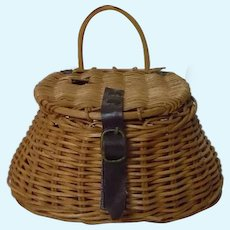 All Original Antique Wicker Woven Miniature Fishing Creel Basket