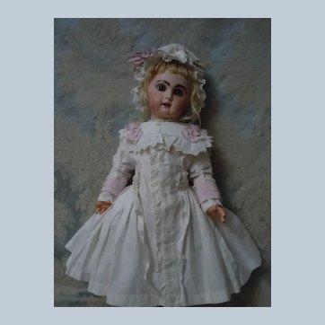 Exquisite Antique Glazed Batiste Dress Cap for french bebe Jumeau Steiner Eden Bru doll