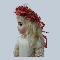 Carmine Floral Millinery Lace Tiara Crown Headdress for cabinet sized antique doll