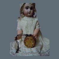 Vintage Miniature Wicker Woven Round Lidded Basket