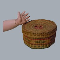 Antique Hand Woven Lidded Basket for doll decor