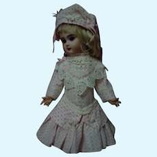 Printed Taffeta Dress Bonnet for Antique cabinet sized French Bebe doll