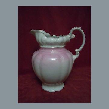 Antique Alfred Meakin  England Gilded Pink Rose Porcelain Wash Pitcher