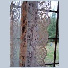 Gorgeous Vintage Handmade Window Filet Lace Curtain Panel